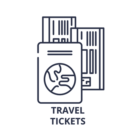 Travel tickets line icon concept. Travel tickets vector linear illustration, sign, symbol Illustration