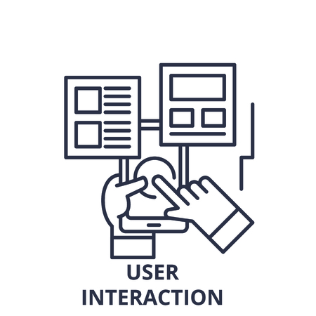 User interaction line icon concept. User interaction vector linear illustration, sign, symbol Иллюстрация