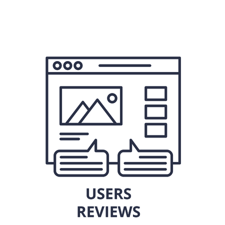 User reviews line icon concept. User reviews vector linear illustration, sign, symbol