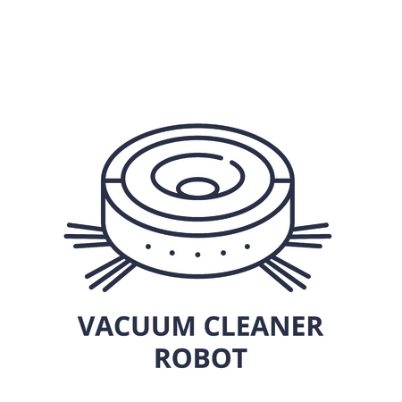 Vacuum cleaner robot line icon concept. Vacuum cleaner robot vector linear illustration, sign, symbol 일러스트