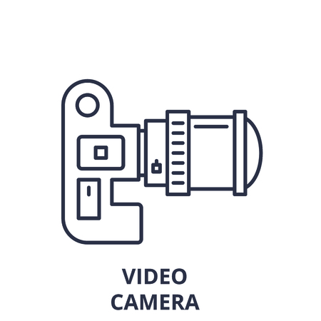 Video camera line icon concept. Video camera vector linear illustration, sign, symbol
