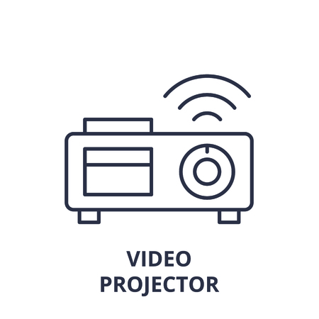 Video projector line icon concept. Video projector vector linear illustration, sign, symbol
