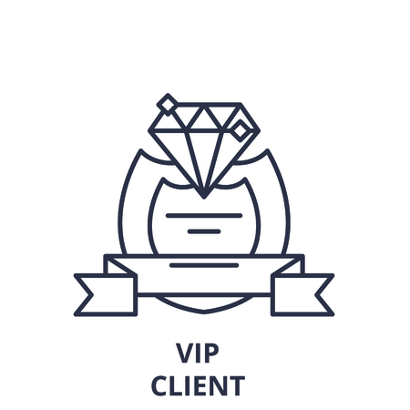 Vip client line icon concept. Vip client vector linear illustration, sign, symbol Illustration