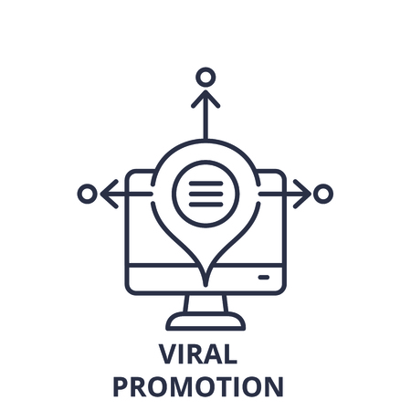 Viral promotion line icon concept. Viral promotion vector linear illustration, sign, symbol 向量圖像