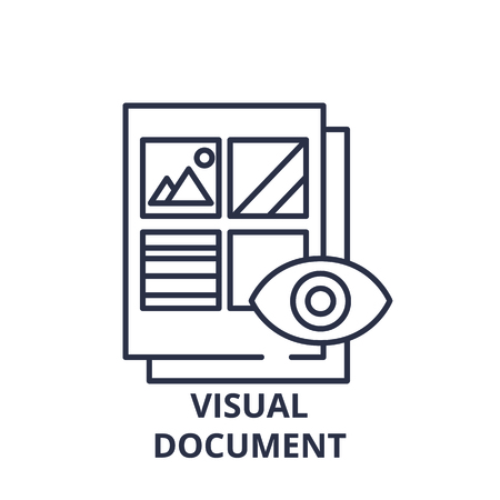 Visual document line icon concept. Visual document vector linear illustration, sign, symbol Иллюстрация