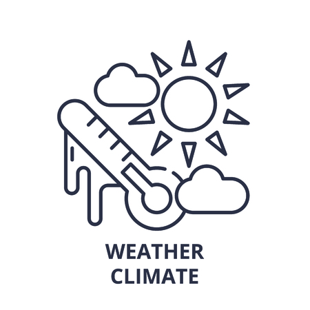 Weather climate line icon concept. Weather climate vector linear illustration, sign, symbol