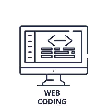 Web coding line icon concept. Web coding vector linear illustration, sign, symbol Иллюстрация