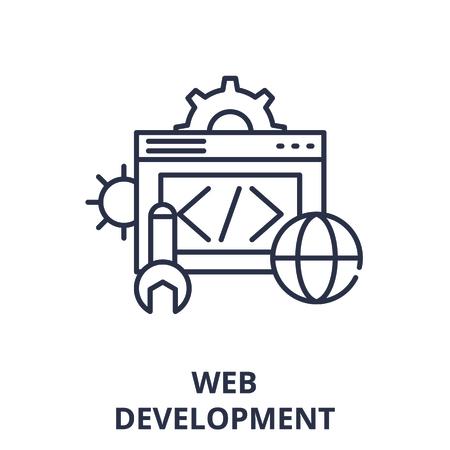 Web development line icon concept. Web development vector linear illustration, sign, symbol Illustration