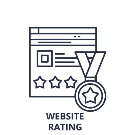 Webiste rating line icon concept. Webiste rating vector linear illustration, sign, symbol