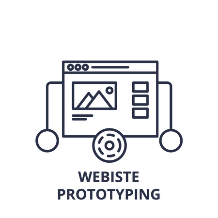 Website prototyping line icon concept. Website prototyping vector linear illustration, sign, symbol Illustration