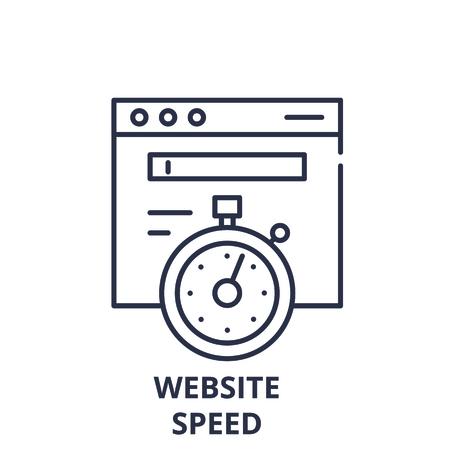 Website speed line icon concept. Website speed vector linear illustration, sign, symbol