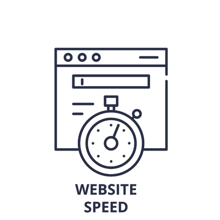 Website speed line icon concept. Website speed vector linear illustration, sign, symbol