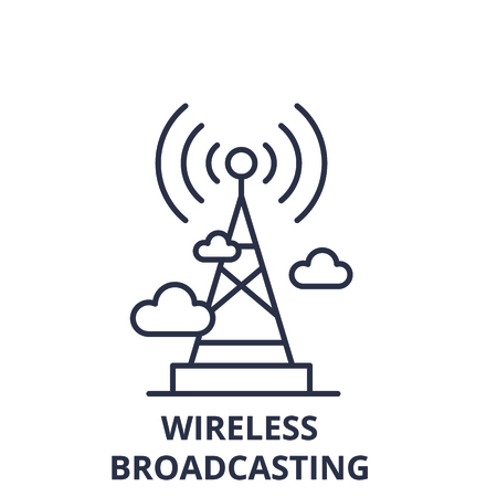 Wireless broadcasting  line icon concept. Wireless broadcasting  vector linear illustration, sign, symbol
