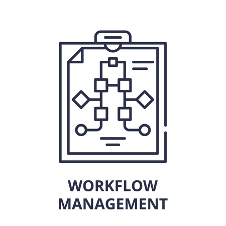 Workflow management line icon concept. Workflow management vector linear illustration, sign, symbol