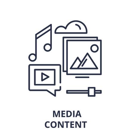 Media content line icon concept. Media content vector linear illustration, sign, symbol Çizim
