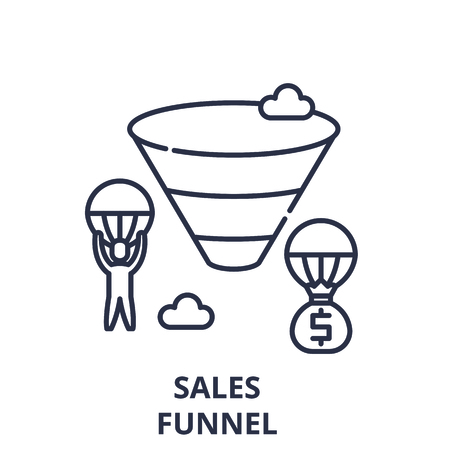 Sales funnel line icon concept. Sales funnel vector linear illustration, sign, symbol