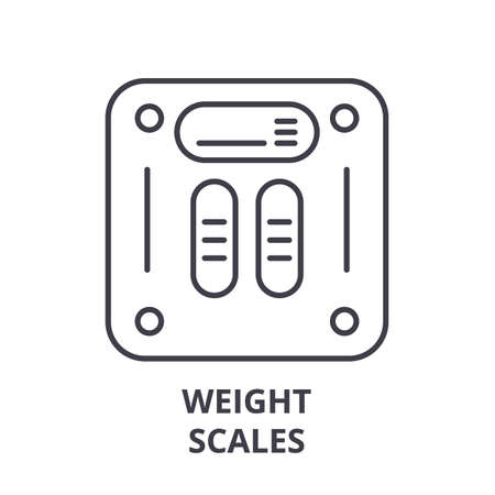 Weight scales line icon concept. Weight scales vector linear illustration, sign, symbol