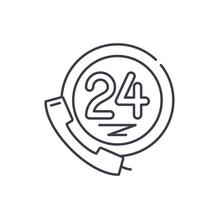 24 hour client support line icon concept. 24 hour client support vector linear illustration, sign, symbol