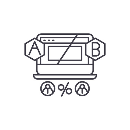 Ab testing line icon concept. Ab testing vector linear illustration, sign, symbol Stock Illustratie