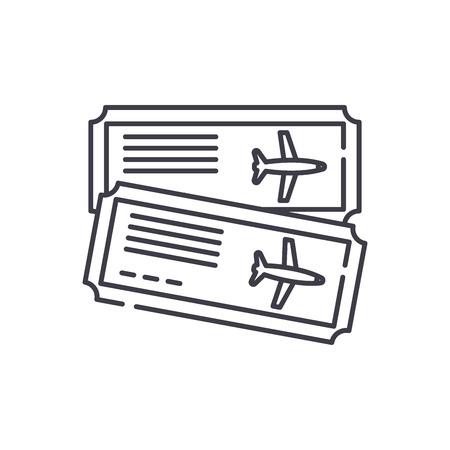 Airline tickets line icon concept. Airline tickets vector linear illustration, sign, symbol Illusztráció