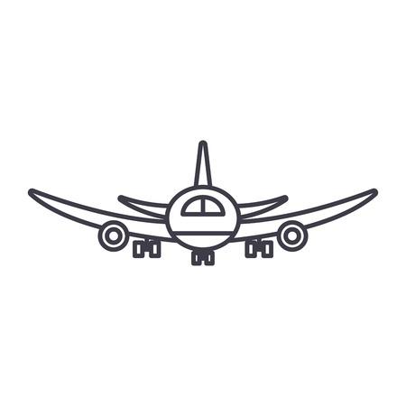 Airplane flight line icon concept. Airplane flight vector linear illustration, sign, symbol