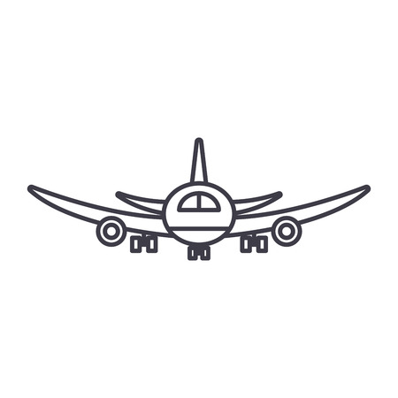 Airplane flight line icon concept. Airplane flight vector linear illustration, sign, symbol