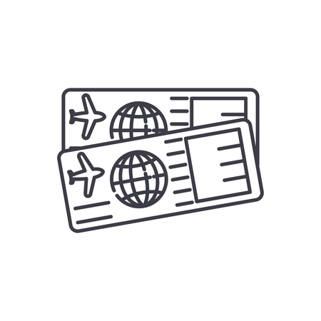 Airplane tickets line icon concept. Airplane tickets vector linear illustration, sign, symbol Ilustração