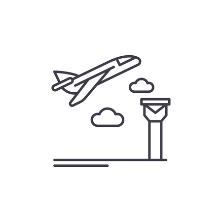Airport line icon concept. Airport vector linear illustration, sign, symbol