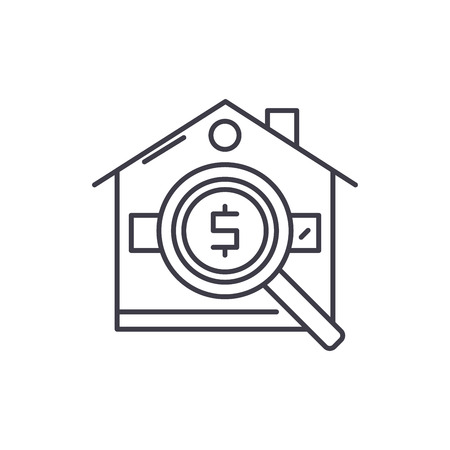 Analysis of real estate prices line icon concept. Analysis of real estate prices vector linear illustration, sign, symbol