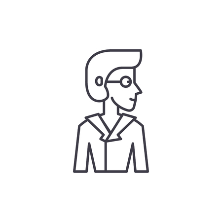 Analyst line icon concept. Analyst vector linear illustration, sign, symbol