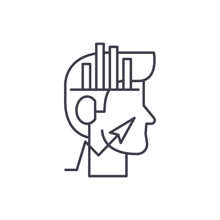 Analytical thinking line icon concept. Analytical thinking vector linear illustration, sign, symbol