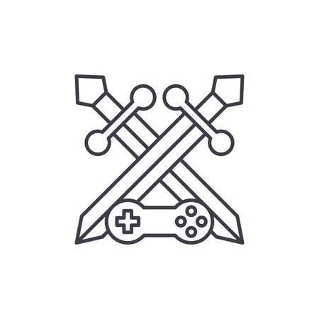 Adventure game line icon concept. Adventure game vector linear illustration, sign, symbol