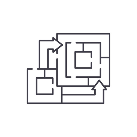 Algorithm of the game line icon concept. Algorithm of the game vector linear illustration, sign, symbol