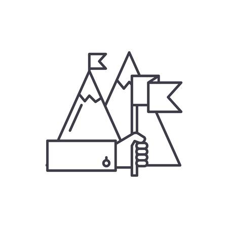 Ambitious goals line icon concept. Ambitious goals vector linear illustration, sign, symbol