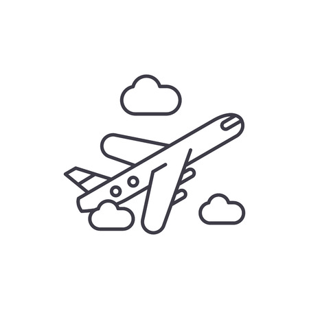 Air delivery line icon concept. Air delivery vector linear illustration, sign, symbol Ilustração