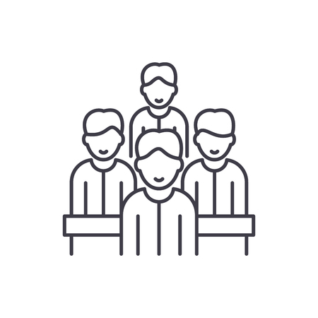 Agile team line icon concept. Agile team vector linear illustration, sign, symbol  イラスト・ベクター素材