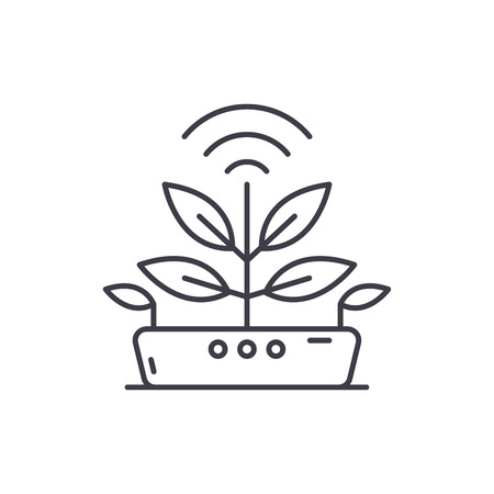 Agro technology line icon concept. Agro technology vector linear illustration, sign, symbol 向量圖像
