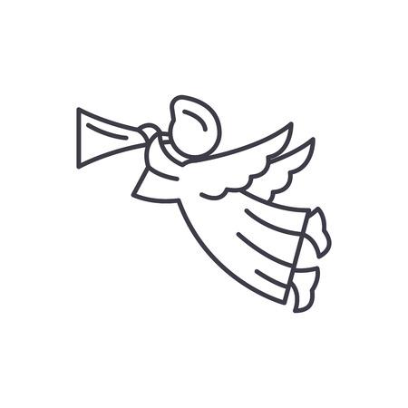 Angel line icon concept. Angel vector linear illustration, sign, symbol