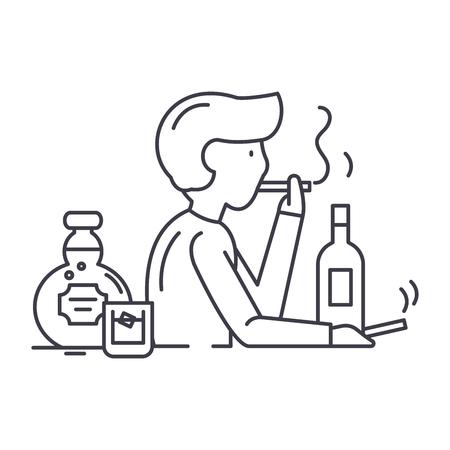 Bad habits line icon concept. Bad habits vector linear illustration, sign, symbol Ilustração