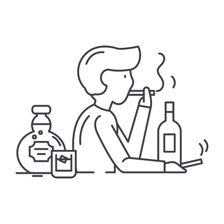 Bad habits line icon concept. Bad habits vector linear illustration, sign, symbol Illustration