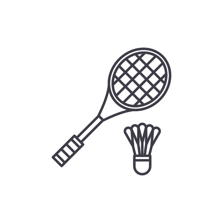 Badminton racket line icon concept. Badminton racket vector linear illustration, sign, symbol Ilustracja