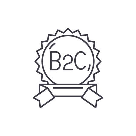B2c line icon concept. B2c vector linear illustration, sign, symbol 向量圖像