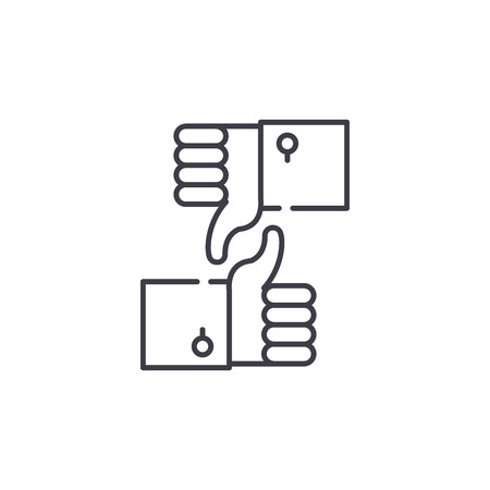 Approval and rejection line icon concept. Approval and rejection vector linear illustration, sign, symbol