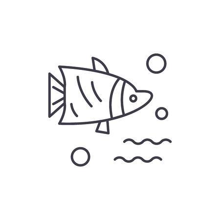 Aquarium fish line icon concept. Aquarium fish vector linear illustration, sign, symbol