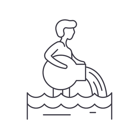 Aquarius zodiac sign line icon concept. Aquarius zodiac sign vector linear illustration, sign, symbol
