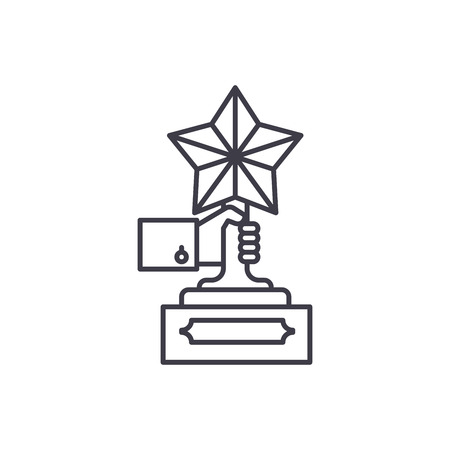 Achievement award line icon concept. Achievement award vector linear illustration, sign, symbol Vettoriali