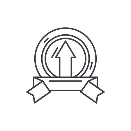 Achieving success line icon concept. Achieving success vector linear illustration, sign, symbol