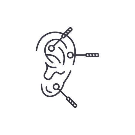 Acupuncture line icon concept. Acupuncture vector linear illustration, sign, symbol