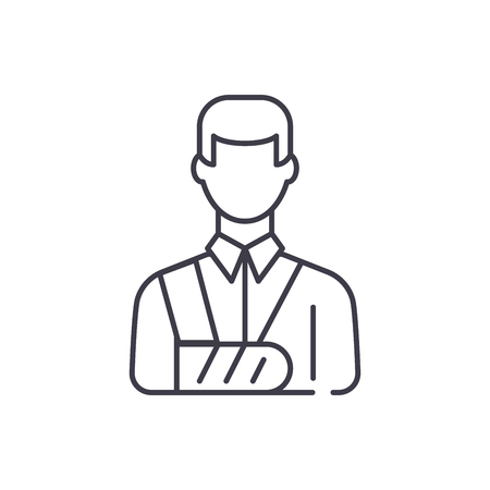 Bandaged man line icon concept. Bandaged man vector linear illustration, sign, symbol