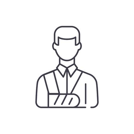 Bandaged man line icon concept. Bandaged man vector linear illustration, sign, symbol